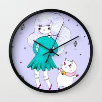 bee and puppycat Wall Clocks featuring Bee and Puppycat  by Alxndra Cook