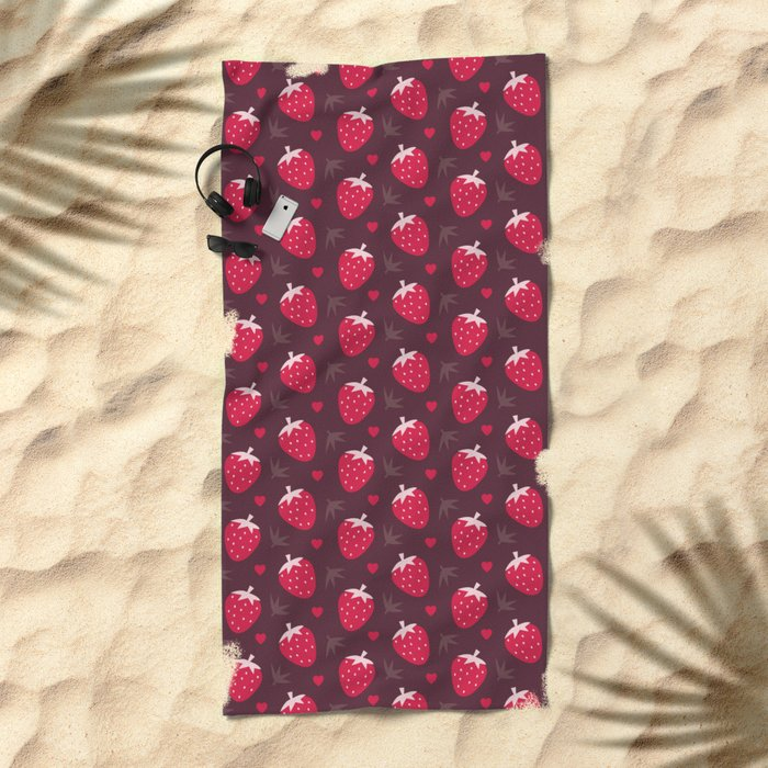 STRAWBERRIES AND CHOCOLATE Beach Towel