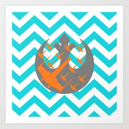 Wraith Squadron and Chevrons in Blue, Gray and Orange Art Print