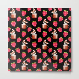 Cute little happy funny little baby Schnauzer puppies sitting in espresso coffee cups, yummy red ripe sweet summer strawberries black fruity pattern design. Metal Print
