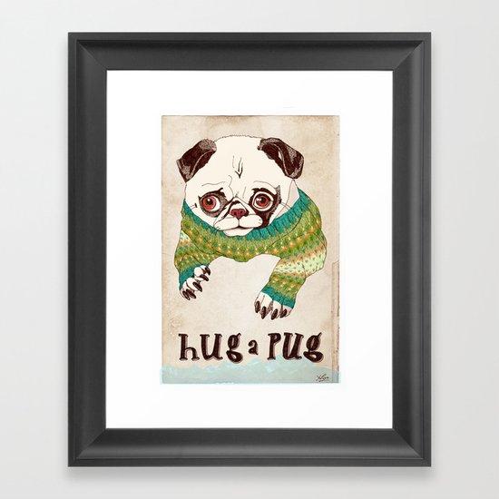 Hug a Pug Framed Art Print
