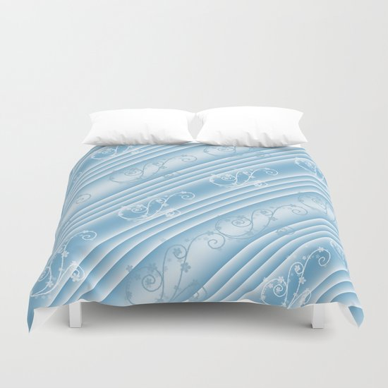 Elegant Swirl and Stripes Abstract Duvet Cover