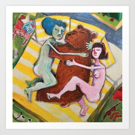 Two women napping with Bear Art Print