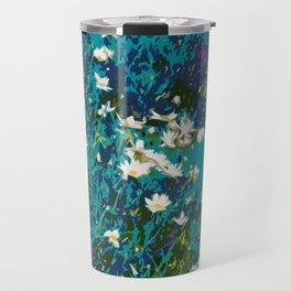 Daisies smothered in Teal Travel Mug