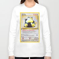 snorlax Long Sleeve T-shirts featuring Snorlax Card by Neon Monsters