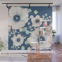 Summer Flowers Blue #society6 #buyart Wall Mural