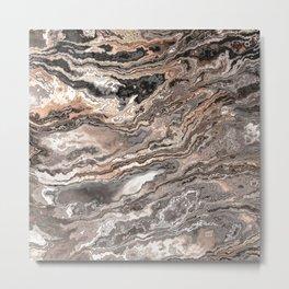 Brown Marble Texture Metal Print