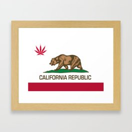 California Republic state flag with red Cannabis leaf Framed Art Print