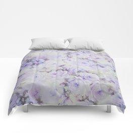 Vintage lavender gray botanical roses floral Comforters