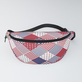 Red White & Blue Patchwork Quilt Fanny Pack