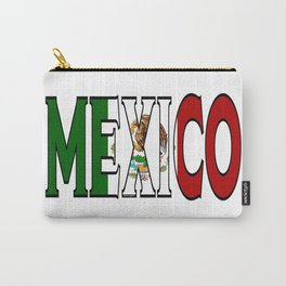 Mexico Font with Mexican Flag Carry-All Pouch