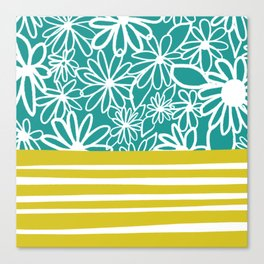 Murietta florals, teal & chartreuse Canvas Print