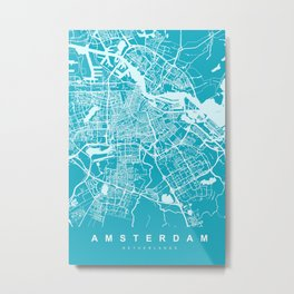 Amsterdam Netherlands Map | Blue & Cyan | More Colors, Review My Collections Metal Print
