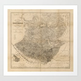 Vintage Map of Guatemala (1859) Art Print