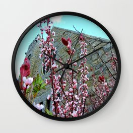 Old Stone Church with Flowers Wall Clock