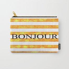 Bonjour Orange Stripe Bokeh Carry-All Pouch