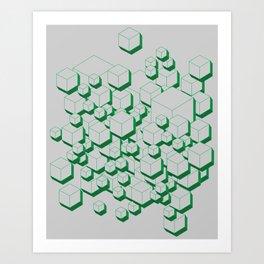 3D Futuristic Cubes X Art Print