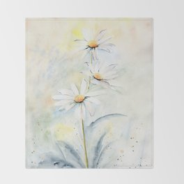 White Daisies Throw Blanket