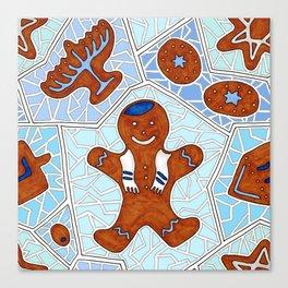 Hanukkah Gingerbread Cookie Mosaic in Light Blues Canvas Print