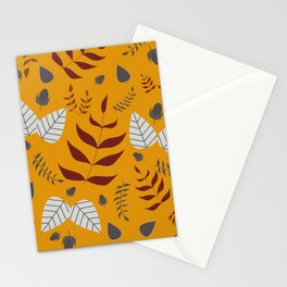 Autumn leaves and acorns - ochre, brown and grey Stationery Cards
