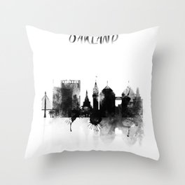 Oakland Black and White Skyline poster Throw Pillow