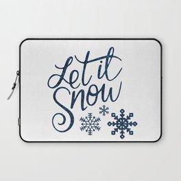 Let It Snow Blue Glitter Typography Winter Laptop Sleeve
