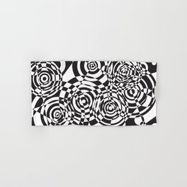 Raindrops 2 Black and White Geometric Painting Hand & Bath Towel