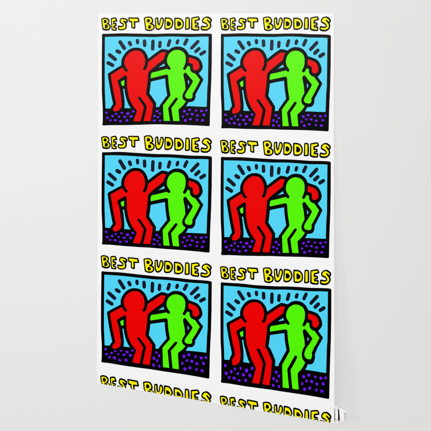 Keith Haring Inspired Best Buddies Complementary Color R G Edition Wallpaper