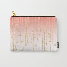 Color block coral faux gold glitter waterdrops ombre Carry-All Pouch