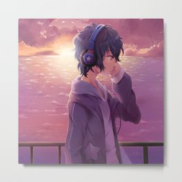 Anime Boy Headphone Metal Print