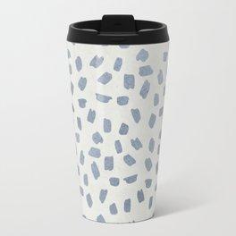 Simply Ink Splotch Indigo Blue on Lunar Gray Travel Mug