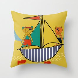 Pirate boat yellow Throw Pillow
