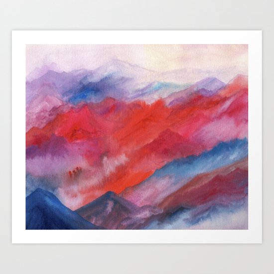 Watercolor abstract landscape 23 Art Print