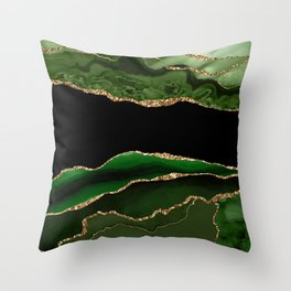 Emerald Marble Glamour Landscapes Throw Pillow