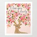 Love Deer Valentines day floral flower antlers Andrea Lauren  by andrealaurendesign