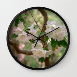 White Rhododendron Flowers Wall Clock
