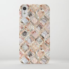Rosy Marble Moroccan Tile Pattern iPhone Case