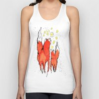 fireflies Tank Tops featuring Foxes with Fireflies by FauxMondeVide