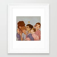 cargline Framed Art Prints featuring kiss kiss fall in love by cargdoodles