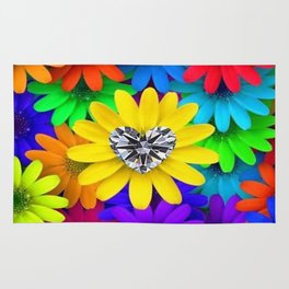 Colorful Flowers With Heart-shaped Diamond Rug