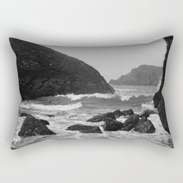 Kynance Cove in Black and White Rectangular Pillow