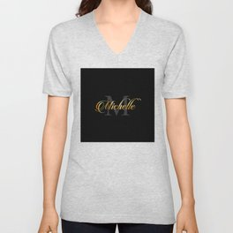 Name and initial of a girl Michelle in golden letters Unisex V-Neck