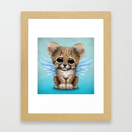 Cute Baby Cheetah Cub with Fairy Wings on Blue Framed Art Print