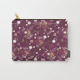 Burgundy white blush pink hand painted floral Carry-All Pouch