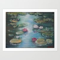 Mirror of lilies Art Print