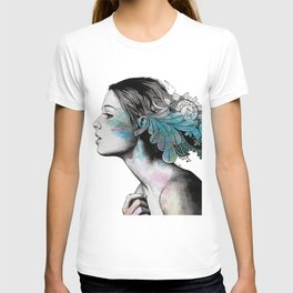 Moral Eclipse II (portrait of woman with doodles sketch) T-shirt