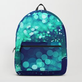 Aqua Blue Glitter Wave Backpack