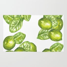 Watercolor Limes and Leaves Rug