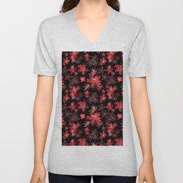 Fishnet red flowers on a black background. Unisex V-Neck