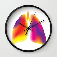 lungs Wall Clocks featuring Lungs by Kexit guys